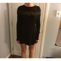 Tobi small black dress new with tags New with tags Tobi small black dress. Sheer/lace detail at top long sleeves Tobi Dresses Long Sleeve