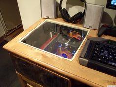 Plexiglas windowed computer. Maybe old blue?