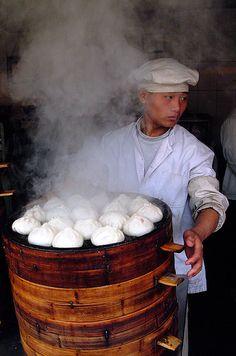 Steamed Dumplings at a Shanghai Market