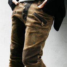Bottoms :: Jeans :: Re) Limited Brown Checkered Skinny Biker-Jeans 170 - Mens Fashion Clothing For An Attractive Guy Look