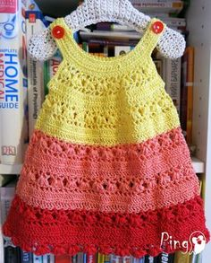 *This is a crochet pattern and not the finished item!*  Stylish and cute, this dress is perfect for the summer days.  This pattern includes: - Step by step instructions by American crochet technology - Step by step photo tutorial - Instruction are written in English language - Instant digital download - ready to download immediately after the payment. You will see the download link in details of your order.  Material: You will need any FINGERING weight yarn in three colors: • yellow…