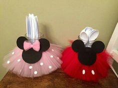Mickey and Minnie inspired centerpieces by CreativeHandsbyAli Decoration Minnie, Minnie Mouse Birthday Decorations, Minnie Mouse First Birthday, Minnie Mouse Baby Shower, Mickey Party, Mickey Mouse Birthday, First Birthday Parties, 2nd Birthday, Mickey Mouse Parties