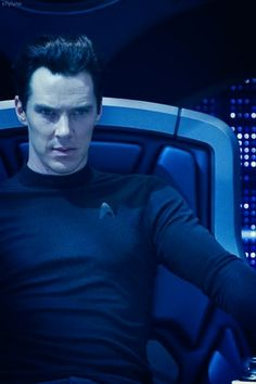 "Khan from ""Star Trek: Into Darkness"" - he is one bloody awesome villain. THIS Khan, that is, NOT the old Khan. And it's Benedict Cumberbatch so how could you go wrong. He also looks pretty awesome in the chair don't you think?"
