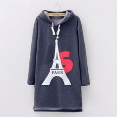Eiffel Tower long hoodie for women casual winter hooded sweatshirts