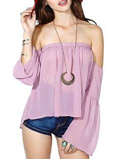 Blusa de chifón de color lavanda con escote strapless y manga larga - Milanoo.com