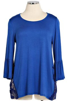 Plus Size Blue Tunic with Crochet Accents
