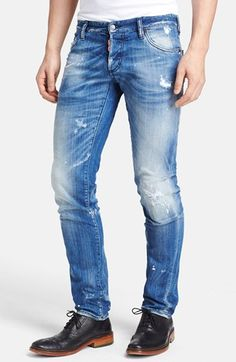 Slim Fit Distressed Jeans (Blue) available at White Jeans Outfit, Blue Ripped Jeans, Slim Jeans, Estilo Denim, Patterned Jeans, Men Trousers, Summer Denim, Shoes With Jeans, Jean Outfits