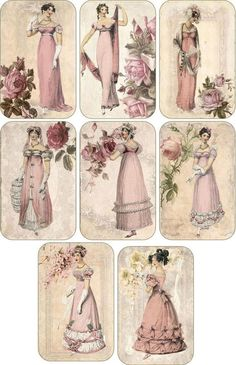 Vintage inspired victorian Jane Austen scrapbooking cards tags set 8 envelopes: