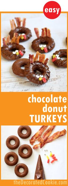 how to make baked chocolate donut turkeys for a fun Thanksgiving breakfast or treat --video how-tos included Thanksgiving Treats, Fall Treats, Thanksgiving Leftovers, Thanksgiving Table, Chocolate Donuts, Food Crafts, Clean Eating Snacks, Gourmet Recipes, Dessert Recipes