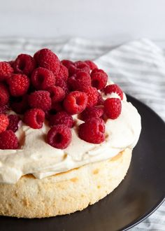 Lemon Mousse Cake with Raspberries - Style Sweet CA