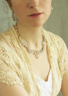 Garland Of Roses Necklace | Silver Lace Bridal Collar With Pink Pearls