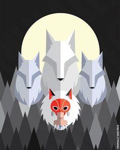 Fan art piece of San and the wolves for the film, Princess Mononoke, by Studio Ghibli. Princess Mononoke: San and the Wolves Studio Ghibli Movies, Howls Moving Castle, My Neighbor Totoro, Hayao Miyazaki, Illustrations, Cultura Pop, Anime Manga, Wolf, Fan Art
