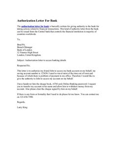 authorization letter for bank sample