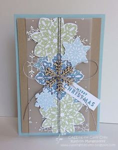 Kathryn's Stampin' World - Stampin' Up! Flurry of Wishes, Snow Flurry Punch, Flower Medallion Punch, Silver Cording Trim, Snowflake Elements, Christmas Card