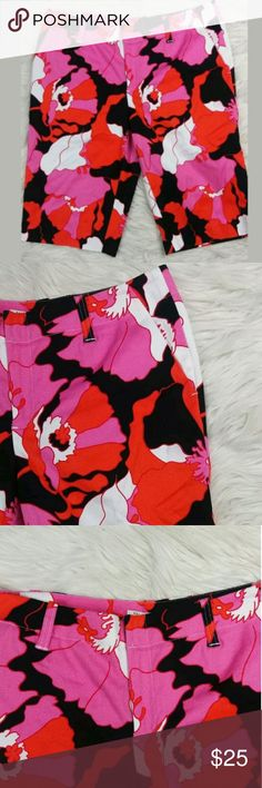 For The Republic Print Stretchy Bermuda Shorts sz8 For The Republic Pink Floral Print Cotton Stretchy Bermuda Shorts Women's Sz 8  Beautiful floral print bermuda cotton shorts. 98% cotton with 2% spandex so has a nice stretch to it. Hook closure with zipper. Has four pockets: 2 functional pockets and two non functional back slit pockets and belt loops. In good condition. Machine wash cold.  Fast shipping.  Measurements Flat:  Waist: 35 inches  Hips: 20 inches  Thigh: 11.5 inches  Opening…