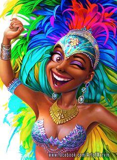 Carnival Queen by Mervin Kaunda on ArtStation. Black Love Art, Black Girl Art, My Black Is Beautiful, Black Girl Magic, Art Girl, African American Art, African Art, Arte Black, Natural Hair Art