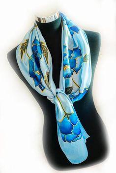 Handpainted silk scarf via RedCat-SilkArt -blue poppies