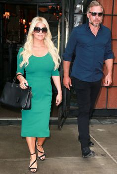 "Jessica Simpson and Eric Johnson head to ""Today"" in Rockefeller Center on Wednesday."