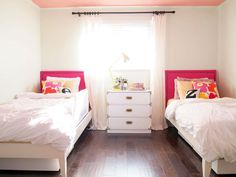 Simple white, gold, pink bedroom