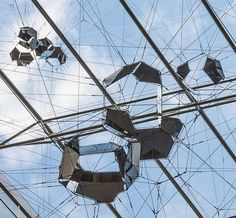 tomás saraceno suspends sundial for spatial echoes at aker brygge in oslo