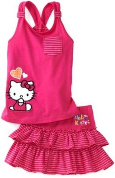 Amazon.com: Hello Kitty Girls 2-6X Toddler Skort Set With Terry Applique And Embroidery: Clothing