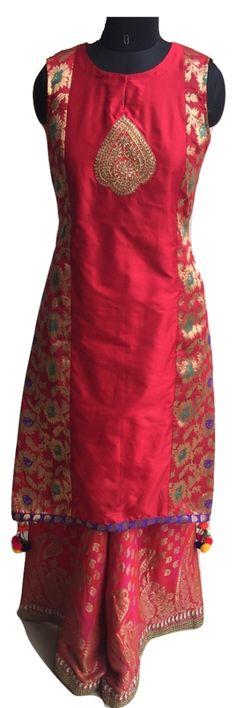 Red Rose Silk Brocade Suit