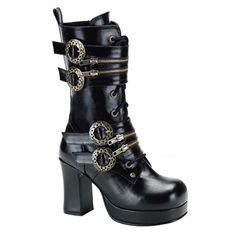 Demonia GOTHIKA-100 Black Gothic Steampunk Boots - Demonia Shoes, Gothic Boots at SinisterSoles.com