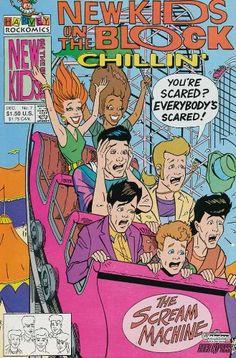 New Kids on the Block Chillin' 7 Comic Book Covers, Comic Books, Jonathan Knight, Danny Wood, Kids Blocks, Donnie Wahlberg, Kennedy Jr, Famous Art, New Kids