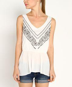 Cream & Black Embroidered Sleeveless Top