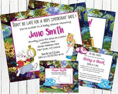"-A hi-resolution, digital, printable JPEG file of the invitation and thank you card -A PDF document formatted to print 5X7 invitations and thank you cards either at home or at a printing center -Printable inserts are included within the PDF ""Bring a storybook instead of a card"" and ""Diaper Raffle"""