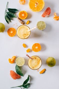 The Citrus Turmeric Rever Upper: Lemon lime grapefruit orange mandarin turmeric ginger and a kick of cayenne pepper. No juicer required. Healthy Smoothies, Healthy Drinks, Juice Drinks, Foto Art, Eating Raw, Summer Fruit, Fruits And Veggies, Turmeric, Food Styling
