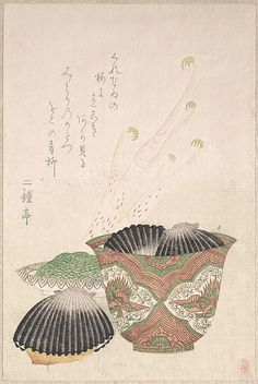 Bowl with Black Shells and Udo Plant  Unidentified Artist   Date: 18th–19th century Culture: Japan Medium: Polychrome woodblock print (surimono); ink and color on paper