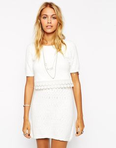 ASOS Double Layer Skater Dress With Crochet Detail 60/70 Look