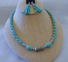 Turquoise and Silver Beaded Rope Necklace by SimplyBeadedTreasure