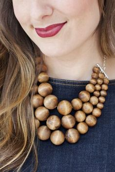 Diy Chunky Wooden Bead Statement Necklace
