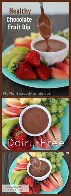 This Easy 2 Ingredient Fruit Dip is for chocolate lovers! It is healthy and dairy-free, gluten-free, nut-free and vegan. #PlantBased