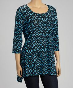 Another great find on #zulily! Blue & Black Abstract Sidetail Top - Plus #zulilyfinds