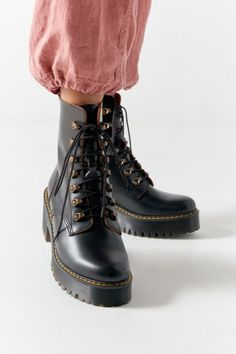 Dr Martens SINCLAIR 2019 SS Plain Toe Lace up Casual Style Plain Leather Mid Heel Boots
