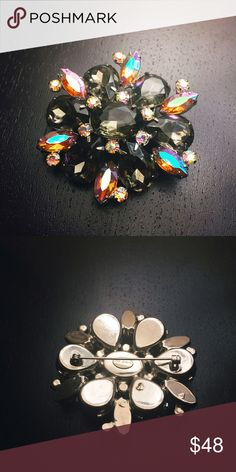 Vintage Garne Jewelry AB Rhinestone Brooch Really pretty large rhinestone brooch from the 1950s to 1960s from Garne Jewelry,  which is an American high end costume jewelry maker.  Large smoky quartz looking rhinestones make up the petals Vintage Jewelry Brooches