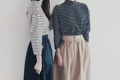 Softly puffed sleeves make oversized look chic on this sumptuous striped sweater. Look Fashion, Korean Fashion, Fashion Beauty, Fashion Outfits, Womens Fashion, Fashion Trends, Beauty Style, Look Chic, Style Me