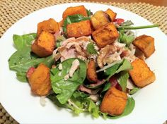 paleo recipe chicken walnut and bacon salad with roast pumpkin and garlic