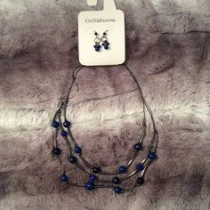 New Croft&Barrow navy blue necklace & earring set New navy blue necklace and earring set Jewelry Necklaces