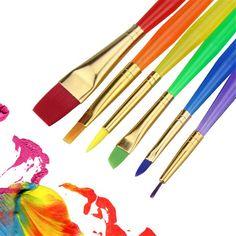 BGLN 6Pcs/Set Watercolor Paint Brush Different Shape Nylon Hair Painting Brush Set Student Gouache Oil Brushes Art Supplies