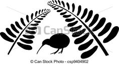 Kiwi bird under fern. Small silhouette of a kiwi bird staying under two black ferns. Fern Tattoo, Metal Tattoo, Maori Designs, Tattoo Designs, Tattoo Ideas, Bird Drawings, Easy Drawings, New Zealand Symbols, Hanging Bird Cage