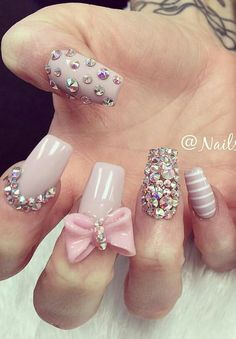 Stunning 47 Pretty Bow Nail Art Designs Ideas For Girls Fabulous Nails, Gorgeous Nails, Pretty Nails, Bow Nail Designs, Best Nail Art Designs, Diamond Nail Designs, Diamond Nail Art, Nails Design, Fancy Nails