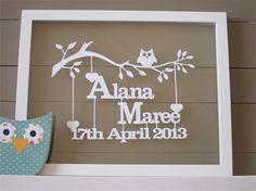 New Baby Personalised Papercut Keepsake