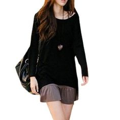 Black Scoop Neck Bat Wing Sleeve Shirt Top for Woman