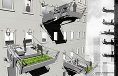 Suburban backyard through mobile balcony economy in the city? Aaron Berman Suburban backyard t Mobile Architecture, Architecture Student, Architecture Drawings, Architecture Details, Architecture Illustrations, Patio, Backyard, Vertical City, Balkon Design