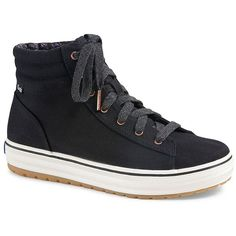 Keds Hi Rise Canvas High-Top Sneakers (1 210 UAH) ❤ liked on Polyvore featuring shoes, sneakers, black, black platform sneakers, canvas high tops, black sneakers, black high top shoes and black platform shoes