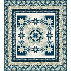Wilmington Prints Fabrics Sapphire Blossoms Garden Stars Twin Quilt Kit